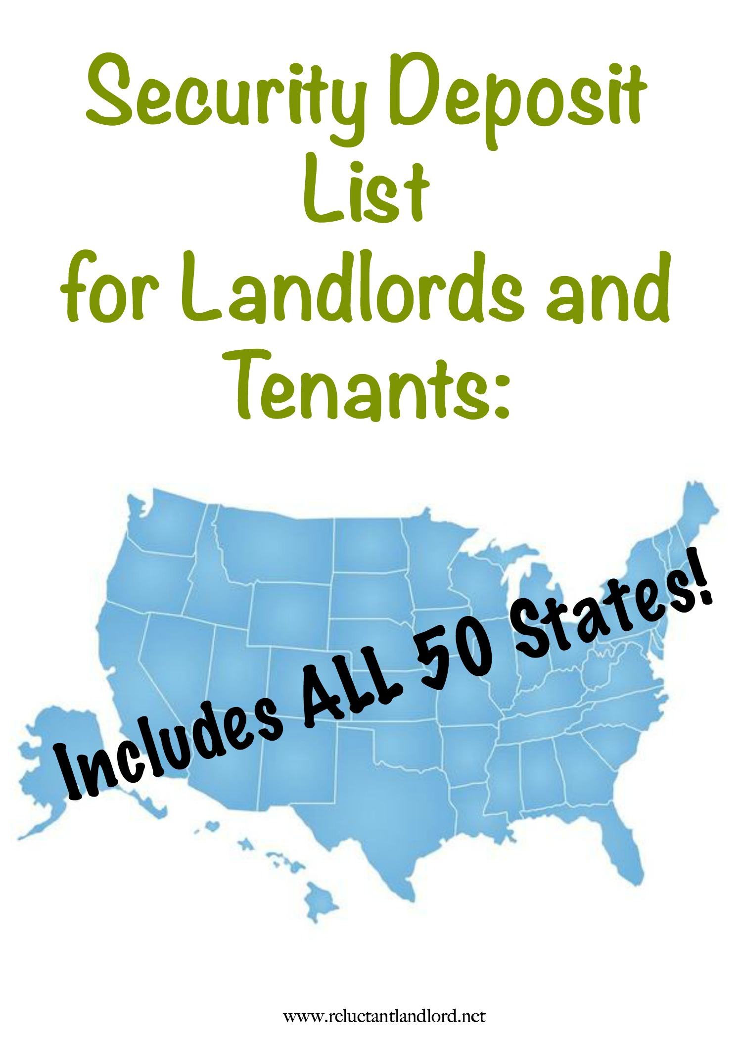 Security Deposit List for Landlords and Tenants: Includes ALL 50 States