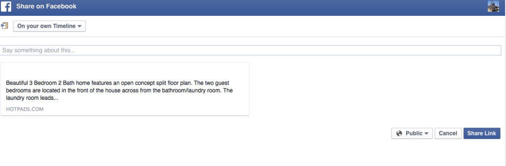 Example of Sharing Postlets to Facebook