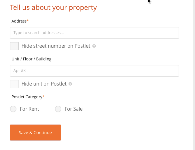 Location - Tell Us About Your Property
