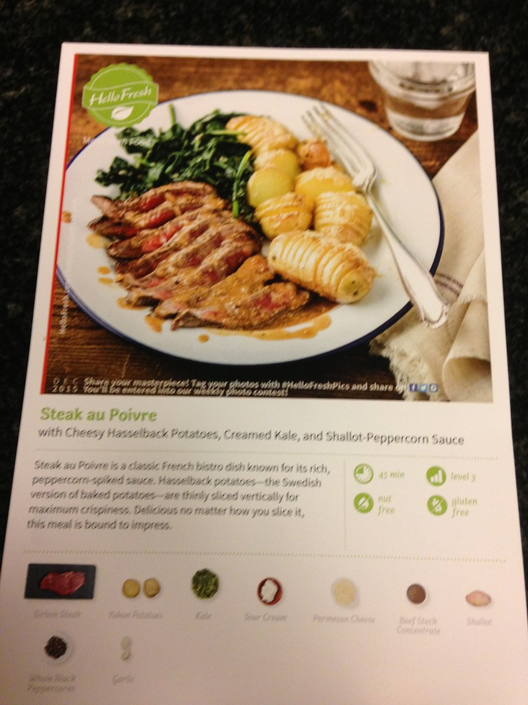 Front of the Hello Fresh Recipe Card