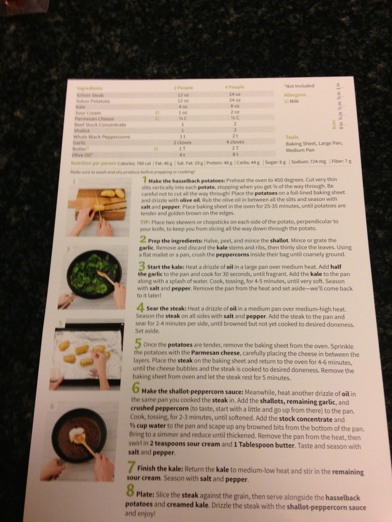 Back of the Hello Fresh Recipe Card