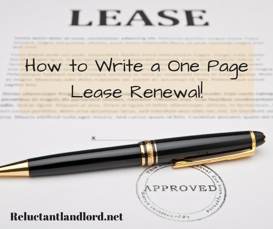 How To Write A One Page Lease Renewal  The Reluctant Landlord