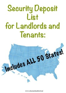 Security Deposit List For Landlords and Tenants: Include ALL 50 States