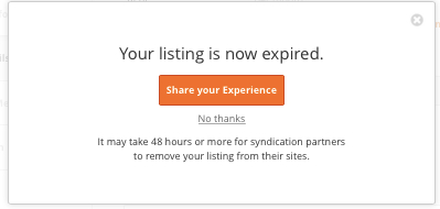 Postlets Expired Listing Confirmation