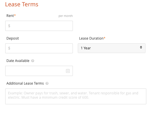 Postlets Lease Terms Page